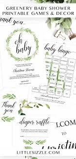 Printable Games And Decor For Your Neutral Baby Shower Greenery Showers Are On Trend It Is The Perfect Theme Any Gender
