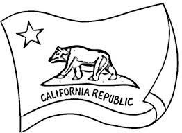 California Flag Coloring Page Bear