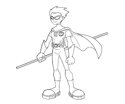 Printable Teen Titans Robin 4 Coloring Page