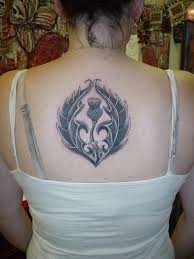 Exquisite Thistle Tattoo Black On The Back