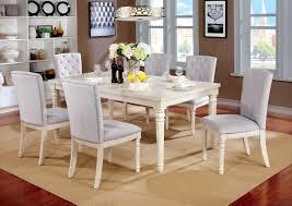 Nembus Transitional Style White Finish 7pc Dining Table Set W Grey Velvet Nailhead Trim Chairs