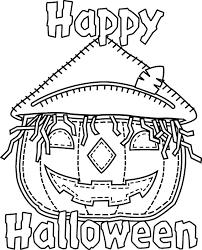 Happy Halloween Jack O Lantern Pumpkin Scarecrow Coloring Page