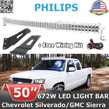 white 50 672w led light bar mounting brackets fit for chevy