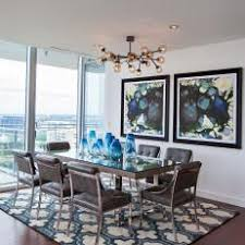 Blue Contemporary Dining Room With Rug