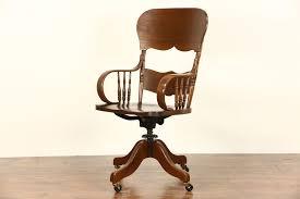 SOLD - Victorian 1900 Antique Ash & Oak Swivel Tall Desk Chair ...