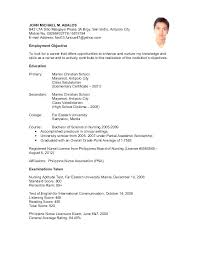 Sample Resume For Filipino Teachers Feat Nurse Nurses Without Experience