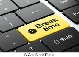 Time Concept Clock And Break On Computer Keyboard