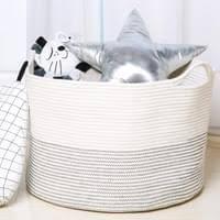 apotto xl groß wäschekorb wäschesammler aufbewahrungskorb für spielzeug baumwolle seil korb mit henkel für decken kissen weiß mit schwarze naht d55