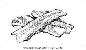 Highly detailed hand drawn black and white ink illustration of slices of bacon