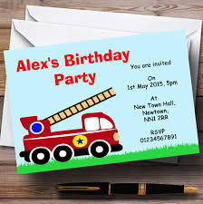 Fireman Fire Engine Personalised Birthday Party Invitations - TH116 ...
