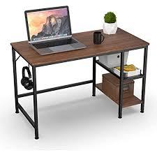 homidec schreibtisch computertisch pc tisch mit 3 tier bücherregal bürotisch schreibtisch holz officetisch fürs büro wohnzimmer home office