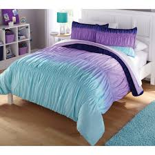 Bed Comforter Set by Latitude Ombre Ruched Reversible Complete Bedding Set Purple