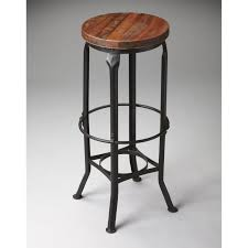 Round Black Metal Bar Stool With Brown Wood Seat Completed By Footrest And Legs