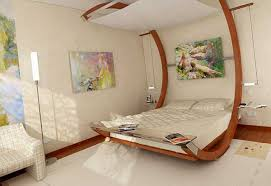 Contemporary Bed With Bended Wood Frame