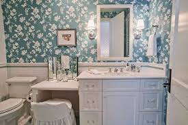 double sink vanity with makeup area bathroom traditional with blue