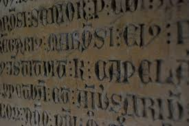 Writing Number Old Wall Stone Rustic Font Text Handwriting Latin Blocks Calligraphy Registration Bas Relief Recorded