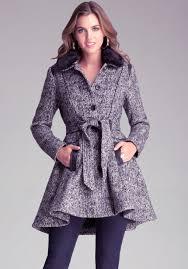 bebe fit flare wool coat in black lyst