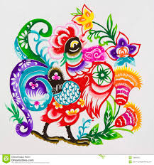 Roostercolor Paper Cutting Chinese Zodiac Stock Image