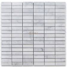 carrara white 5 8x2 rectangular stacked mosaic tile polished