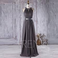 2016 charcoal chiffon bridesmaid dress hollow neck wedding dress