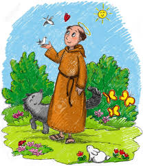 francis of assisi in a wood with animals stock photo