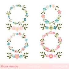 Flower Wreaths Clipart Floral Set Wedding Printables Borders Digital Blossom Wreath Laurel Frame Bouquet