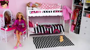 barbie twins bunk bed pink bedroom morning routine with wardrobe