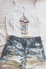 Tank Top Clothes Shorts White Blue Summer Hipster Cute High Waisted Starbucks Coffee Pretty Forever