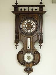 Antique German Wall Clock with Barometer & Thermometer Ca 1890