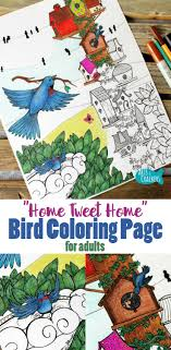 This Whimsical Bird Coloring Page For Adults Is So Fun To Color With Its Quirky Birdhouses