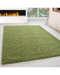 hochflor langflor wohnzimmer teppich shaggy florhöhe 3cm unifarbe grün größe 60x110 cm