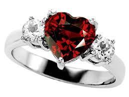 Star K™ 8mm Heart Shape Simulated Garnet Ring Style No