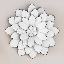Metal Flower Wall Decor 7 White Color Flowers Art Good Looking Wonderful Image Pictures High Quality
