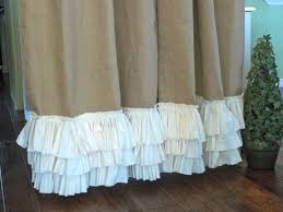 Smocked Burlap Curtain Panels by Decorating Grommet Burlap Curtains With White Ruffled Bottom For