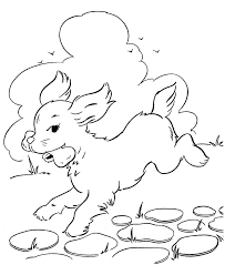 Dog Running With Bone Coloring Page