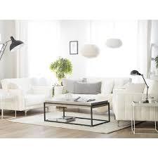 beliani sofa set weiß kunstleder sitzgruppe schlaffunktion klassisch wohnzimmer