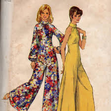 Retro Disco Fashion 70s Bell Bottom Wide Leg Jumpsuit Pantsuit Halter Bodice Bare Shoulder Empire Waist