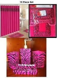 Pink Cheetah Print Bathroom Set by And Pink Zebra 15 Piece Bathroom Set 2 Rugs Mats 1 Fabric Shower