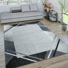wohnzimmer teppich kurzflor teppich mit moderner bordüre in grau