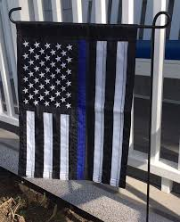 Blue Line Embroidered Garden Sized American Flag