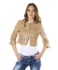 women u0027s leather short jacket beige miss spring leather jackets