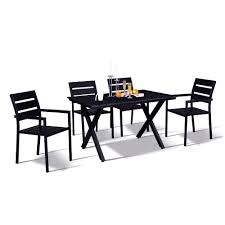 Modern Contemporary 5-Piece Black Metal Rectangular Outdoor Dining Set With  Faux Wood And Stackable Chairs Cult Living Ladbroke Outdoor Ding Armchair Black Polywood Tek Memoir Chair Rjid Midcentury Modern Steel Patio Set Summer Classics Skye Side White Leather Chairs Contemporary Script 5piece Metal With Slatted Faux Wood And Stackable Modway On Sale Eei2259slvblk Shore Alinum Only Only 16930 At Fniture Warehouse Polywood Bayline Satin Allweather Plasticsling Arm In Poolside Shell Shell Collection Fueradentro Design Wicker