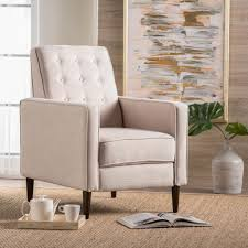 100 2 Chairs For Bedroom Html Shop Mervynn MidCentury Button Tufted Fabric Recliner Club Chair By