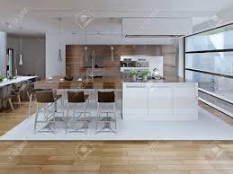 innenansicht der luxus küche und esszimmer 3d übertragen