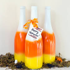Decorative Wine Bottles Ideas by Diy Candy Corn Spray Painted Bottles Popsugar Smart Living