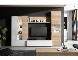 wohnzimmer set essential 260 cm glänzend weiß und eiche helle farbe eiche hell