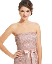 adrianna papell strapless lace sheath in pink lyst