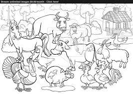 Farm Animals Cartoon For Coloring Book Vector Of Printables Medium Size