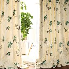 patterned green color cotton curtains uk online