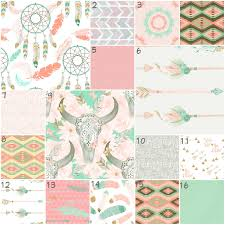 Coral And Mint Crib Bedding by Dream Catcher Boho Crib Bedding Nursery Dreamcatcher Bedding